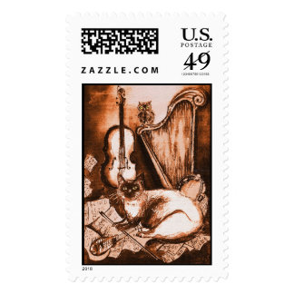 MUSICAL CAT ,Brown and White Postage Stamp