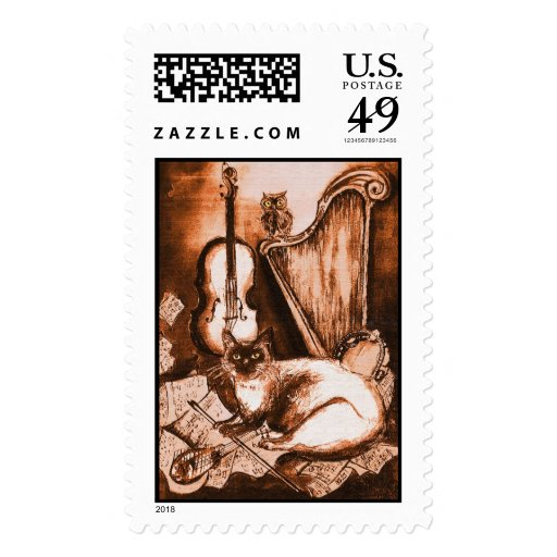 MUSICAL CAT ,Brown and White Postage