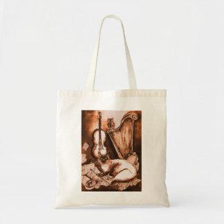 MUSICAL CAT , Brown White Tote Bag