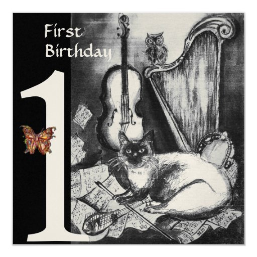 MUSICAL CAT First Birthday Party Black Champagne 5.25x5.25 Square Paper Invitation Card