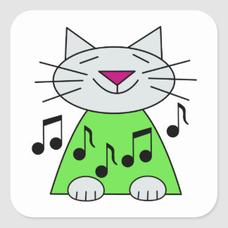 Musical Cat Green Square Sticker