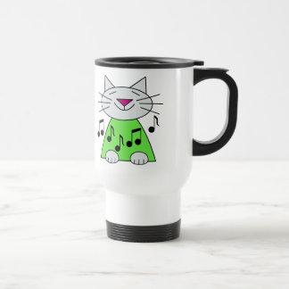 Musical Cat Green Travel Mug