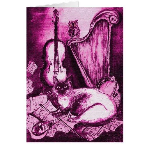 MUSICAL CAT ,Pink Fuchsia White Greeting Card