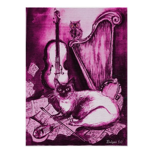 MUSICAL CAT ,PInk Violet and White Poster