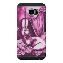 MUSICAL CAT ,Pink Violet and White Samsung Galaxy S6 Case