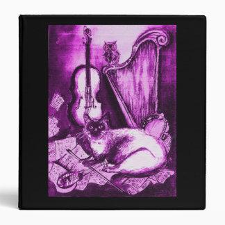 MUSICAL CAT ,Purple and White, Black 3 Ring Binder