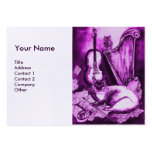 MUSICAL CAT, Purple and White  Linen Business Cards