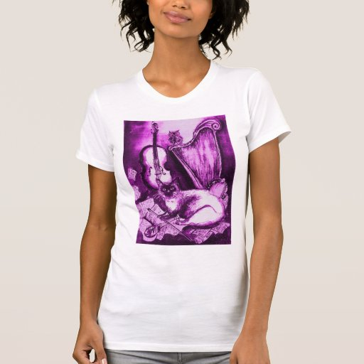 MUSICAL CAT , Purple Violet  and White Tee Shirts