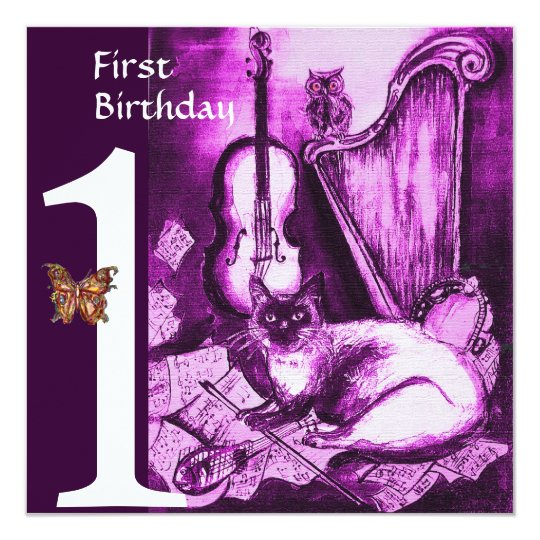 MUSICAL CAT Purple Violet First Birthday Party Card