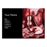 MUSICAL CAT, Red and White Black Business Card