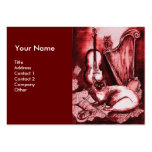 MUSICAL CAT, Red and White Business Cards