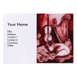MUSICAL CAT, Red and White Linen Business Card Template