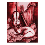 MUSICAL CAT ,Red and White Postcard