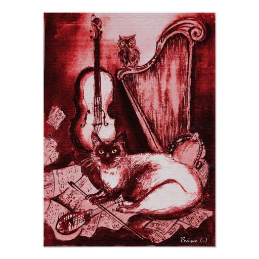 MUSICAL CAT ,Red and White Poster