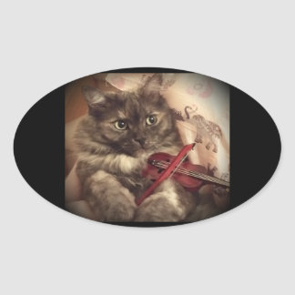 Musical Cat Sticker (OVAL) by RoseWrites