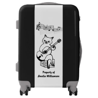 Musical Cat Whimsical Personalized Luggage