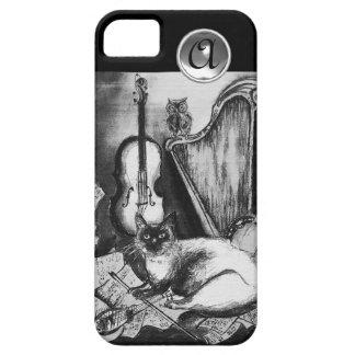 MUSICAL CAT WITH OWL IN BLACK WHITE GEM MONOGRAM iPhone SE/5/5s CASE