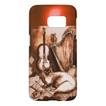 MUSICAL CAT WITH OWL IN BROWN SEPIA  GEM SAMSUNG GALAXY S7 CASE