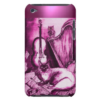 MUSICAL CAT WITH OWL IN PINK PURPLE GEM BARELY THERE iPod CASES
