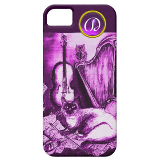 MUSICAL CAT WITH OWL IN PINK PURPLE GEM MONOGRAM iPhone SE/5/5s CASE