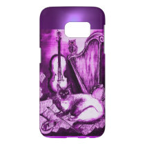 MUSICAL CAT WITH OWL IN PINK PURPLE GEM SAMSUNG GALAXY S7 CASE