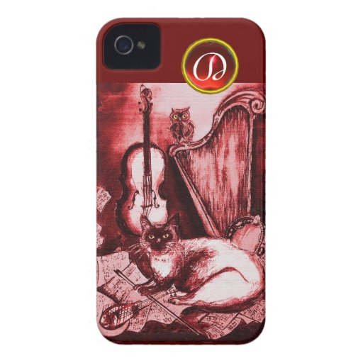 MUSICAL CAT WITH OWL IN RED RUBY GEM MONOGRAM iPhone 4 CASES