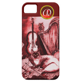 MUSICAL CAT WITH OWL IN RED RUBY GEM MONOGRAM iPhone SE/5/5s CASE