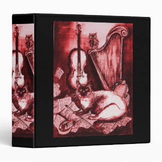 MUSICAL CAT WITH OWL ,Red ,White Black 3 Ring Binder