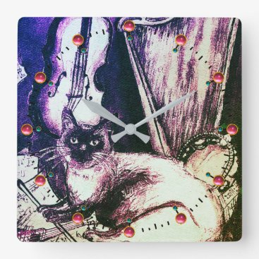 MUSICAL CAT WITH OWL VIOLIN AND HARP SQUARE WALL CLOCK