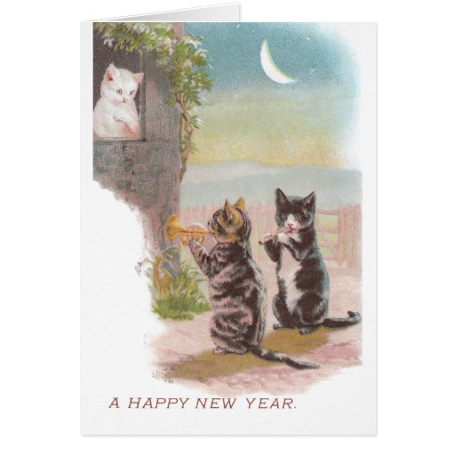 Musical Cats Play for Kitty Vintage New Year Greeting Card