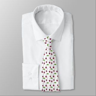 Musical Cherries Pattern Neck Tie