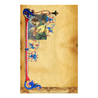 MUSICAL CHRISTMAS ANGEL FLORAL PARCHMENT STATIONERY