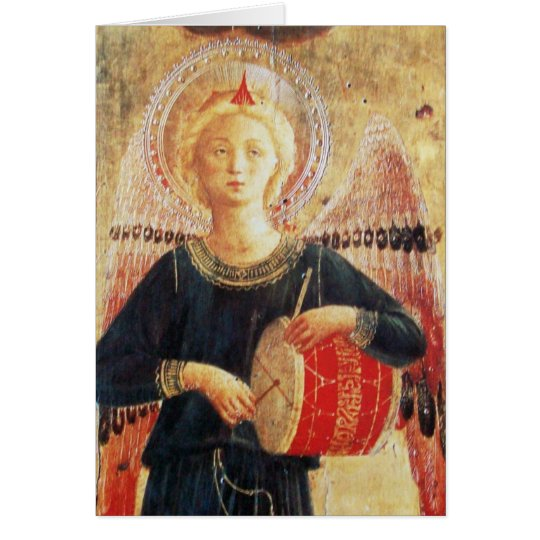 MUSICAL CHRISTMAS ANGEL PLAYING DRUM CARD