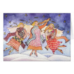 Musical Christmas Angels Watercolor Greeting Card