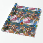 MUSICAL CHRISTMAS ANGELS WITH RED BLUE GEMSTONES GIFT WRAPPING PAPER