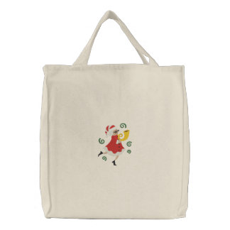 Musical Christmas - Mrs Claus Embroidered Tote Bag