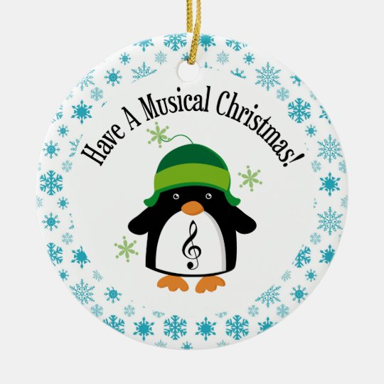 Musical Christmas Music Penguin Gift Ceramic Ornament