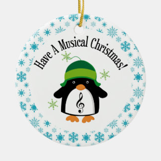 Musical Christmas Music Penguin Gift Double-Sided Ceramic Round Christmas Ornament