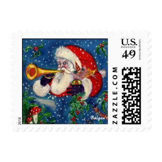MUSICAL CHRISTMAS NIGHT,SANTA BUGLER POSTAGE