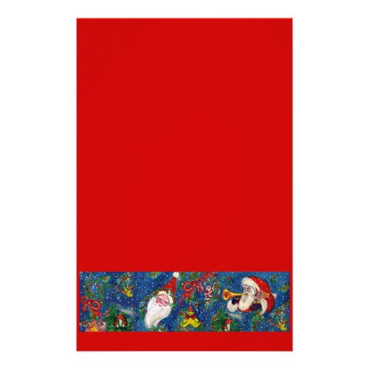 MUSICAL CHRISTMAS NIGHT / SANTA WITH TOYS Blue Red Stationery