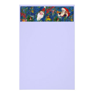 MUSICAL CHRISTMAS NIGHT / SANTA WITH TOYS Blue Stationery