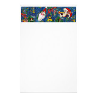 MUSICAL CHRISTMAS NIGHT,SANTA WITH TOYS Blue White Stationery