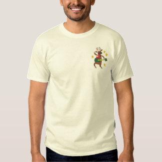 Musical Christmas - Reindeer Embroidered T-Shirt