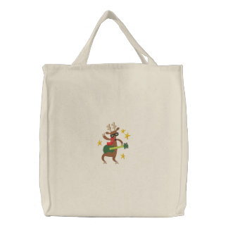 Musical Christmas - Reindeer Embroidered Tote Bag
