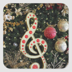 Musical Christmas Square Sticker at Zazzle