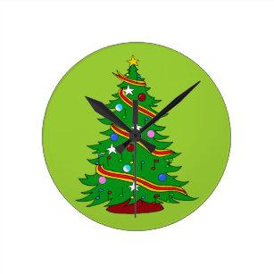 musical christmas tree round clock - Musical Christmas Clock