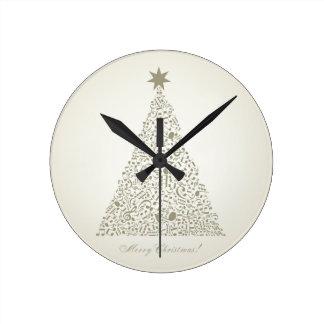 Musical Christmas tree Round Clock