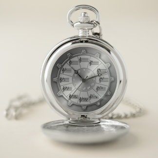 Musical Circle of Fifths Tells Scale Pocket Watch