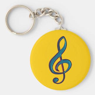 musical clave note basic round button keychain