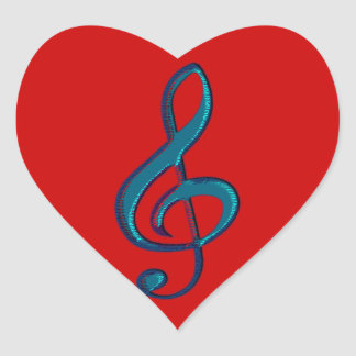 musical clave note heart sticker
